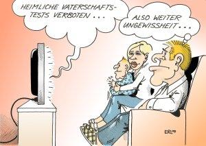 Karikatur von Erl zum Thema Vaterschaftstest