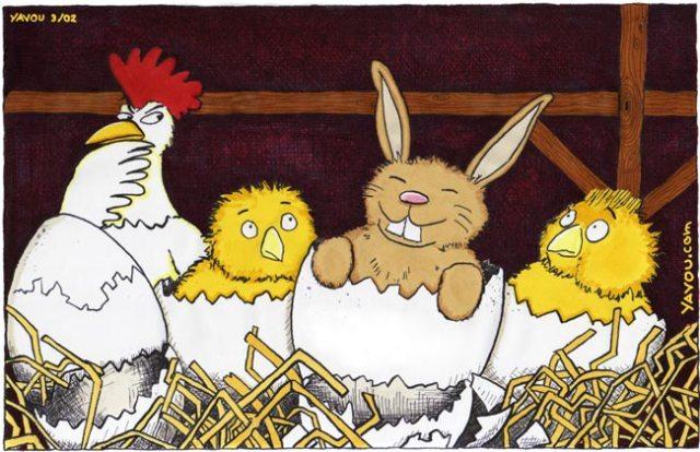 Karikatur von Jan Wulf alias Yavou - Kuckuckskind im Nest
