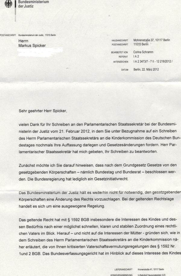 Antwort aus dem Bundesjustizministerium1