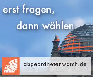 Werbebild von abgeordnetenwatch.de mit der Reichstagskuppel im Hintergrund - erst fragen, dann wählen