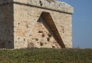 freistehende Festung auf einer Wiese