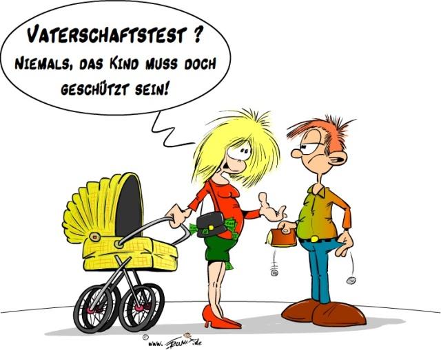 Kuckuckskind und Vaterschaftstest Karikatur von Trumix