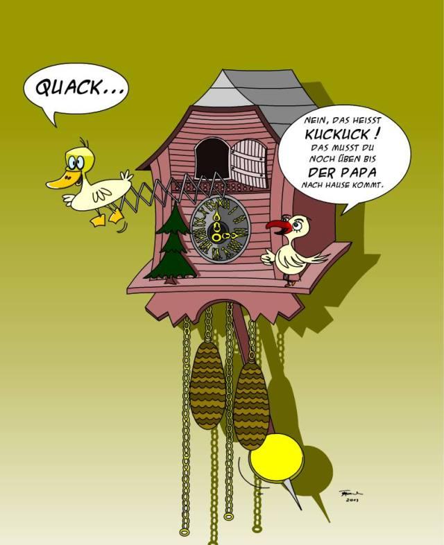 Kuckucksuhr mit Ente - Karikatur von Thomas Hahn alias Trumix