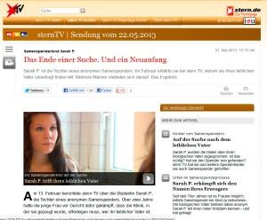 Screenshot vom SternTV-Artikel über die Begegnung von Sarah mit ihrem Vater