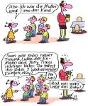 Vater Mutter Kind Spiel in Neuen Zeiten ... - Karikatur von Renate Alf
