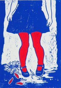 Druck eines Holzschnittes in Blau und Rot von Heike Potthoff