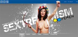 Femenwerbebild - Feme, die die angeschnitten Hoden hochhält