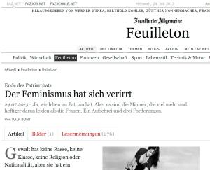 Screenshot FAZ online Feuilleton