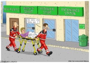Sanitäter bringen hochschwangere Frau zur Entbindung - Karikatur von Dirk Berrens - Idee Max Kuckucksvater