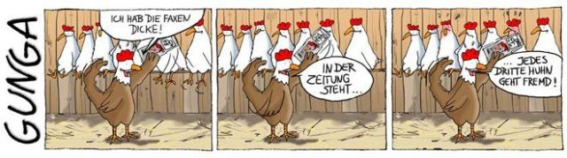 Jedes dritte Huhn geht fremd! - Cartoon Strip