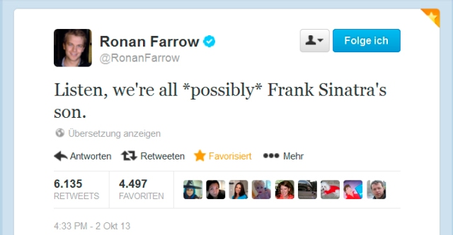 Screenshot vom Twitteraccount von Ronan Farrow
