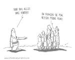 schwarz-weiß-Cartoon von Thomas Luft