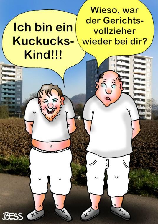 Karikatur in Foto montiert