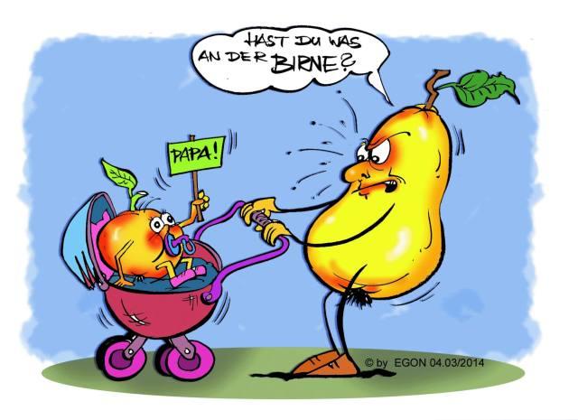 Wenn man Äpfel mit Birnen vergleicht ... - Karikatur von Egon
