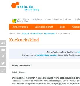 Screenshot von urbia.de
