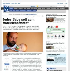 Screenshot des Artikels auf 20 minuten (Schweiz)